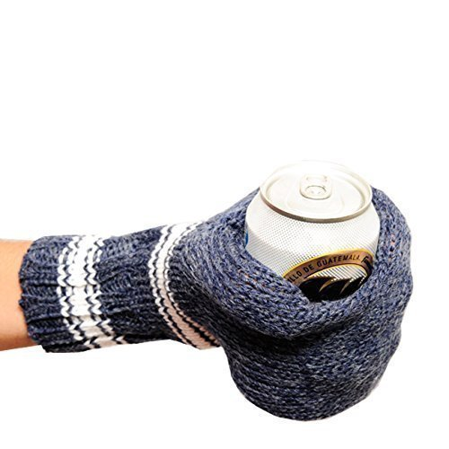Suzy Kuzy Beer Mitt (OFFICIAL) - Knit Beer Mitt :: Blue / White