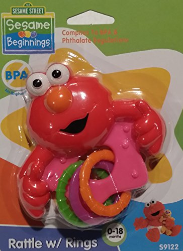 Sesame Street Sesame Beginnings Elmo Baby Rattle with Rings (Pink) - 1