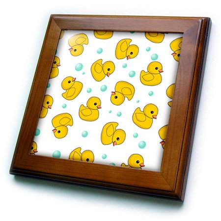 Inspirationzstore Cute Animals - Cute Rubber Ducky Pattern On White. Yellow Ducks Soap Bubbles. Duckies - Framed Tiles - 8X8 Framed Tile - Ft_193779_1 front-280476