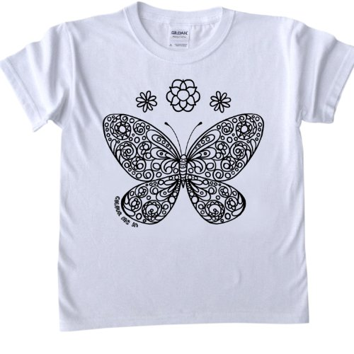 Butterfly Design T-Shirt for colouring in.