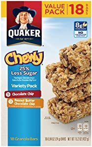 Quaker Chewy Granola Bars, Reduced Sugar Variety Pack, 18 Count