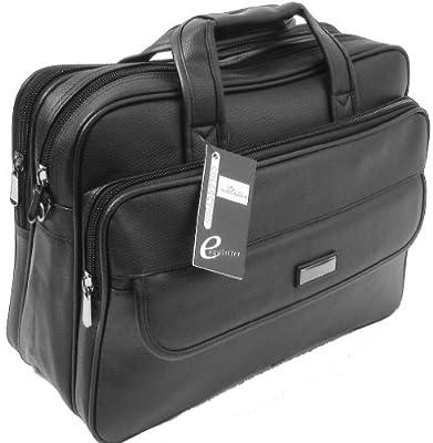 """globehopper 15.6"""" Matt Black Laptop Briefcase Messenger Bag with Shoulder Strap & Carry Handles, Leather Feel"""