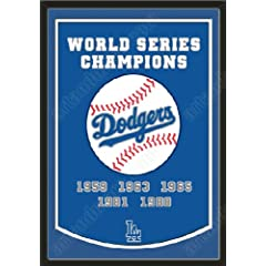 Dynasty Banner Of Los Angeles Dodgers With Team Color Double Matting-Framed Awesome... by Art and More, Davenport, IA