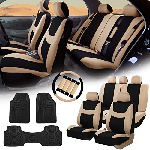 COMMART Beige Black Car Seat Covers for Auto w/Steering Cover/Belt Pads/Floor Mats Ships from USA (Superwoman Car Mats compare prices)