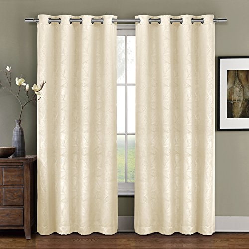 Prairie Ivory Grommet Blackout Weave Embossed Window Curtains Drape, 52x84 inches Single Panel, by Royal Hotel (Royal Hotel Drapes compare prices)