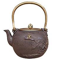 Nanbu Tetsubin Japanese Iron Teapot Cooper Lid Black 1.3L