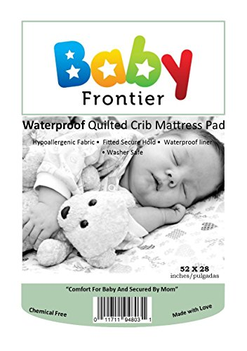 Baby Frontier Waterproof Quilted Crib Mattress Pad- Fitted Soft Mattress Protector, White - 1