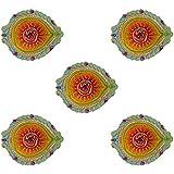 Ashapura Artifacts Terracotta Diya (10.16 Cm X 7.62 Cm X 2.54 Cm, Set Of 5, AA_Diya Set-3)