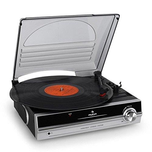 Auna TBA-298 Tourne Disque vinyle compacte avec Couvercle Noir