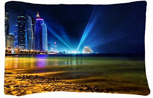 Microfiber Peach Queen Size Decorative Pillowcase -Cities Travel Doha Qatar front-851461