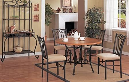 "Inland Empire Furniture Five Piece Solid Wood & Metal 45""Dia Dining Set with Wine RaCalifornia King"