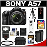 Sony Alpha SLT-A57 Translucent Mirror Technology Digital SLR Camera Body & 18-55mm Lens with 32GB Card + Flash + Case + Battery + Tripod + Filter + Remote + Accessory Kit