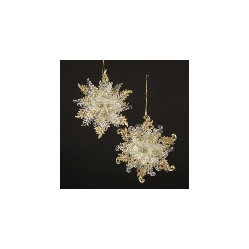 Club Pack of 24 Ivory with Gold Glitter Snow Blossom Christmas Ornaments 4.75