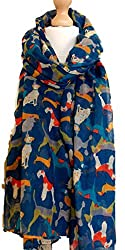 Ladies Blue Overlapping Dogs Dog Dachshund, Airedale Dalmation Poodle Hound Oversized Scarf