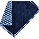 "Cozy Wozy Quatrefoil Print Cotton And Minky Baby Blanket With Mitered Corners, Navy Blue, 32"" X 37"""