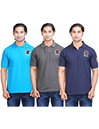 Fleximaa Men's Collar Stylish (Polo) T-Shirts Combo Pack (Pack Of 3) - Blue , Charcoal Milange & Navy Blue Color...