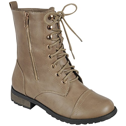 Coshare Women's Fashion Assorted Mid Calf Lace Up Combat Boots