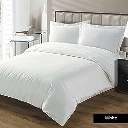 Linenwalas Premium 100% Cotton 600 TC Classic Duvet Cover- Solid White- 90