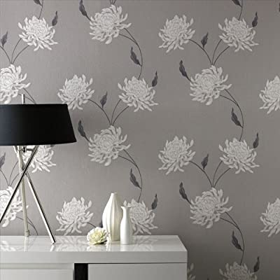 Eve | Floral Trail Wallpaper Grey and Metallic by 4YourWalls