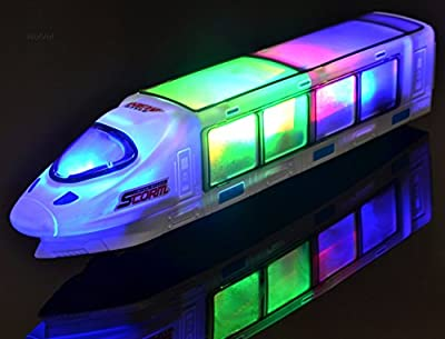 WolVol Beautiful 3D Lightning Electric Train Toy with Music, goes around and changes directions on contact (Battery Powered) - Great Gift Toys for Kids by WolVol