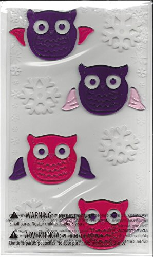 Pink & Purple Owl Window Clings