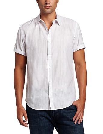 Calvin Klein Sportswear Men's Short Sleeve Roll-up Barstripe Woven Shirt, White, Small