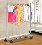 go2buy Rolling Collapsible Clothing Garment Rack Hanger Holder, Chrome Finish