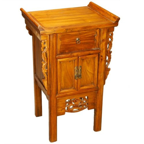 Cheap EXP Handmade Oriental End Table / Storage Cabinet With Carved Trim 20 Inches (B0015GV3H2)