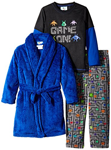 Bunz Kids Little Boys' 3 Piece Game On Robe and Pajama Set