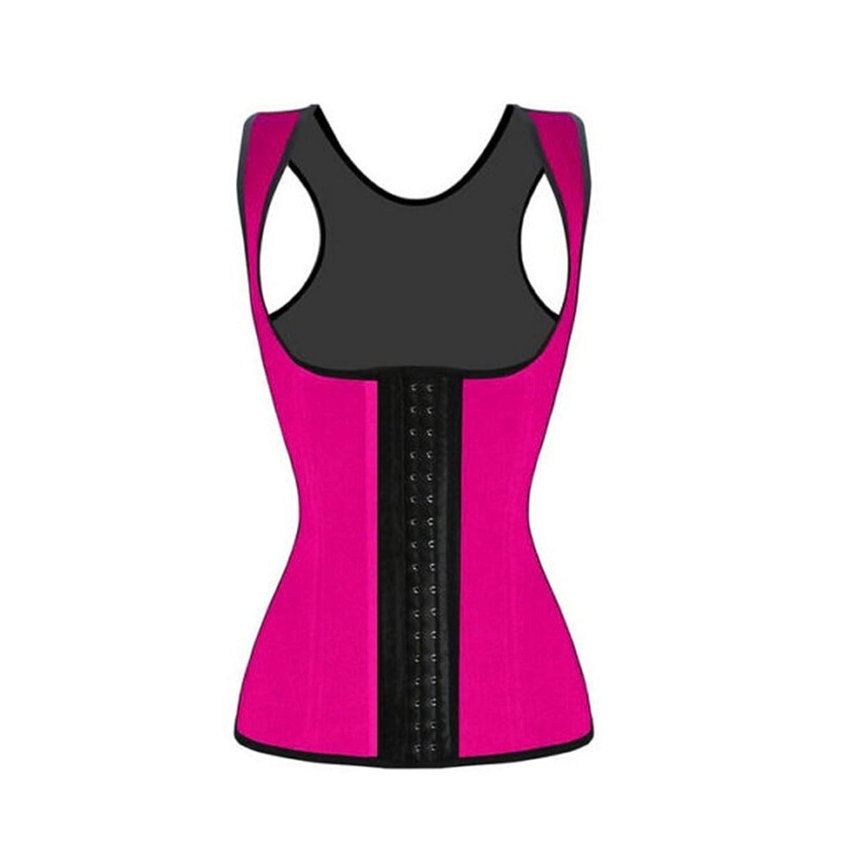 Pixnor Damen Weste Stil Latex Unterbrust Korsett Taille Trainer Cincher Body Shaper Shapewear - Größe L (rosarot)
