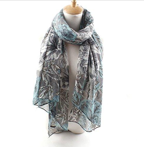 Nasis Fashion Womens Lady Flower Patten Printed Warm Long Soft Infinity Scarf Shawl Wrap Pashmina Wj0039 (Light Blue)