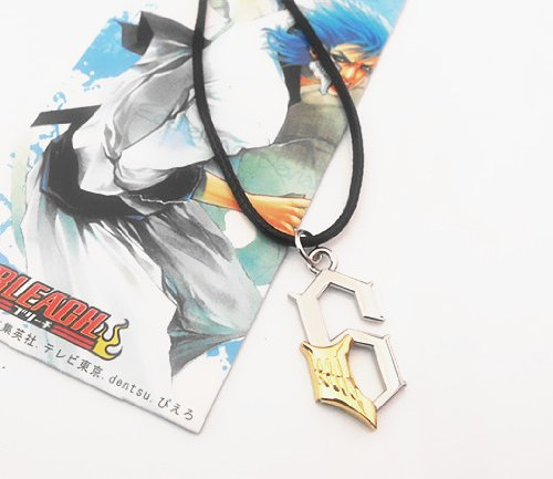 New!Anime Bleach NO.6 Grimmjow Jaggerjack Face Necklace Pendant+Black Rope Metal - 1