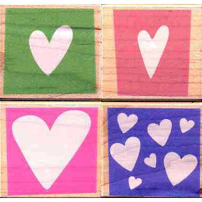 Graphic Hearts Wood Mounted Rubber Stamp Set (LL898)