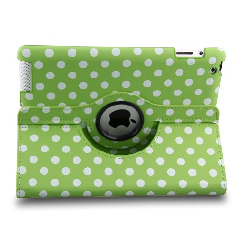 Auto Sleep/Wake Function 360 Degree Rotating Smart Case Cover For 7.9 Inch Apple Ipad Mini/Ipad Mini 2 With Retina With A Stylus As A Gift--Polka Dot Pattern,Green