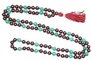Love Heart Chakra Mala Malachite Rosed Wood Prayer Beads Yoga Japamala