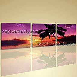 Large Wall Art Print On Canvas Contemporary Seascape Sunset Palm Tree Landscape 3 Panels Wall Art Inner Framed Ready To Hang by Bo Yi Gallery 62\