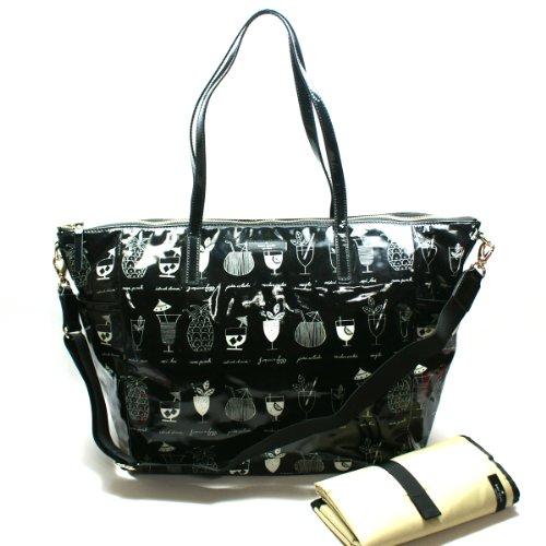 Kate Spade Adaira Baby Bag Daycationtiki Cocktails Diaper Bag/ Tote (Black) #Wkru1696 front-473816