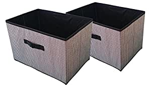 set of 2 large fabric collapsible containers storage closet organizers bins with. Black Bedroom Furniture Sets. Home Design Ideas