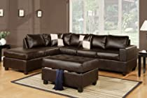 Big Sale Lombardy Sectional sofa in Bonded Leather With Free Ottoman and Pillows (Espresso)