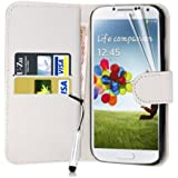 Connect Zone® Samsung S4 i9500 PU Premium Flip Wallet Case Cover Pouch + Screen Protector With Polishing Cloth And Mini Stylus