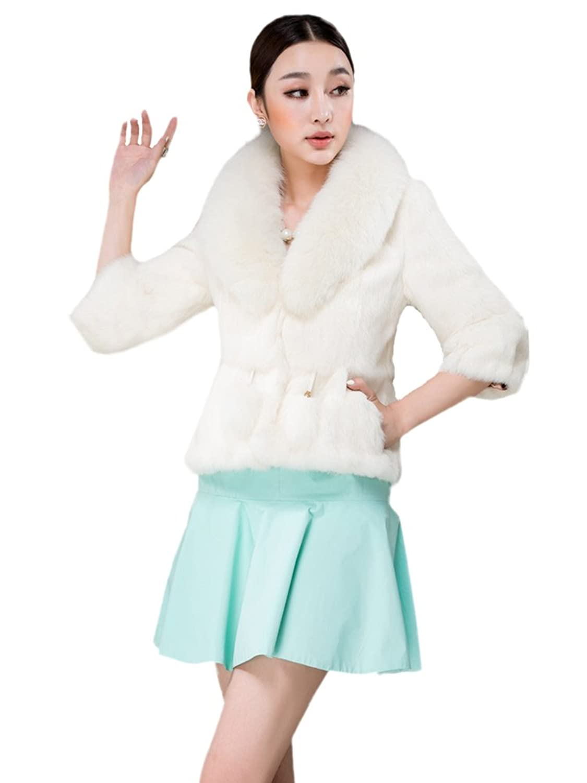 Neu Queenshiny Damen 100% Echte Kaninchen Pelz mantel Jacken Mit Fuchs Pelz kragen Winter Mode online kaufen
