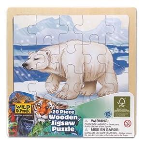 Wild Republic 20 x 20cm Wood Puzzle Polar Bear (20 Pieces)