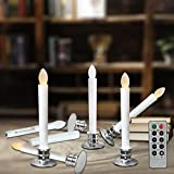 Flameless Taper Candles Led | Christmas Timer Candles Flickering AAA Battery Operated Remote | Electric Window Ivory Candles with Removable Holders Gift Party Wedding Decoration 6pcs Silver Base