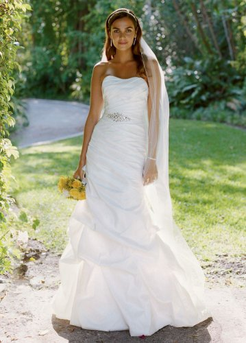 David's Bridal Wedding Dress: Taffeta Fit and Flare Gown with Pick-Ups and Sash Style WG3029, Ivory, 16