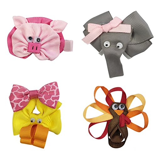 Wrapables Duck, Turkey, Elephant, Pig Ribbon Sculpture Hair Clips Set - 1