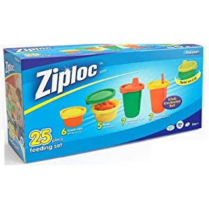 Ziploc 25 Pcs Feeding Set - Snack, Spill-proof and Straw Cups, Bowls