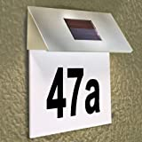 Stainless Steel Solar Powered LED House Number Modern Outdoor Wall Plaque Light