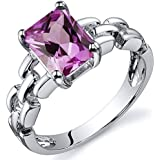 Created Pink Sapphire Ring Sterling Silver Chainlink Style 2.00 Carat Sizes 5 to 9