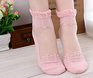 Lace Elastic Short Women Socks Calcetines Pink Sock for Womens Meias