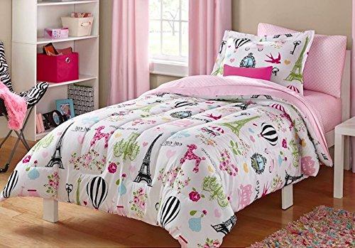 i love paris girls twin pink white and black cute parisian bedding set 4 - Paris Bedding